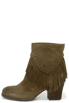 Khaki Suede Leather Fringe Booties
