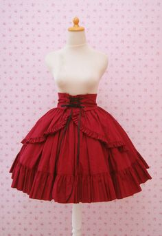 Red High Waist Skirt Gothic Lolita Ruffled by CoruscateUnique on Etsy https://www.etsy.com/listing/159723416/red-high-waist-skirt-gothic-lolita