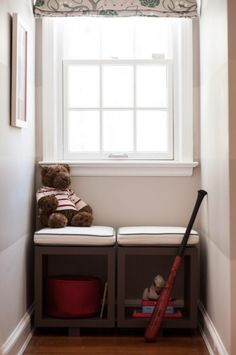 window seat nook -- moveable cubbies