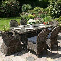 Bridgman Mayfair Rectangular 6 Seater Armchair and Chair Rattan Furniture Set - Garden Furniture Sets - RedShed