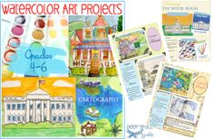 Watercolor-art-projects including the White House
