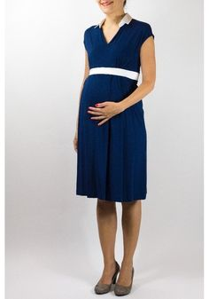 e6669ee48b2 Robe de maternité habillée bleue marine - Pietro Brunelli Milano - Taylorbox