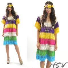 VTG 70s Sheer Crochet Multicolor Crochet Lace Hippie by HSVintage, $119.00