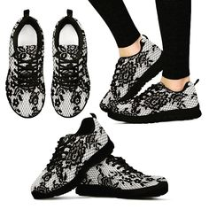 Women's White/Black Sneakers Lightweight construction with breathable mesh fabric for maximum comfort and performance. Lace-up closure for a snug fit. Lotus Mandala, Mandala Print, Classic Sneakers, All Black Sneakers, Shoes Sneakers, Women's Shoes, Fall Shoes, Unique Shoes, Snug Fit