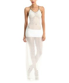 Another great find on #zulily! White Sheer Mesh Racerback Maxi Dress #zulilyfinds
