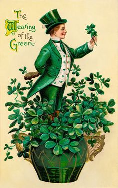 Here are some images just in time for Saint Patrick's Day. Patty's Day wear from Vintage Cards. Saint Patricks Day Art, St Patricks Day Cards, Vintage Greeting Cards, Vintage Postcards, Vintage Images, Vintage Ephemera, Retro Vintage, St Patrick's Day, Fete Saint Patrick