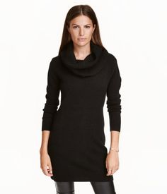 Black. Long knit sweater with rib-knit cowl neck. ONLINE EXCLUSIVE.
