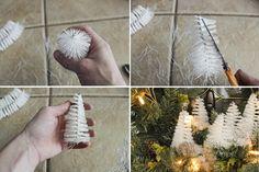 manualidades, navidad. tutorial para hacer corona navideña triple paso a paso, pinos de escobillas blancas,