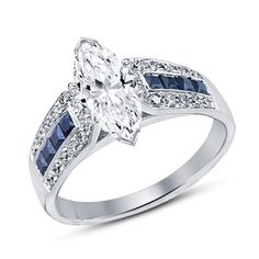 Marquise Cut Solitaire Diamond & Sapphire Engagement Ring in 14k White Gold 925 #SolitairewithAccents