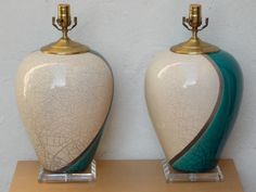 Pair Large Marc Ward Raku Crackle Pottery Lamps with Lucite Bases, Blue & White