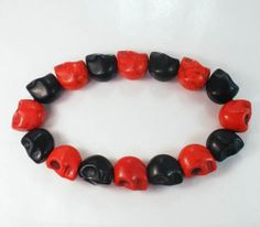 Fashion Bicolor Gift Cool Red Black Turquoise Skulls Beads Beaded Stretch Bracelet ZZ2254 by AnneJewelryAcc, $3.95