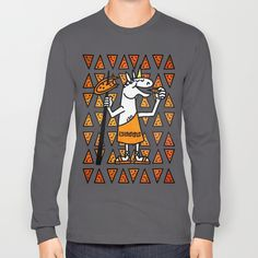 Little Horn Unicorn Pizza Long Sleeve T-shirts by That's So Unicorny   Society6