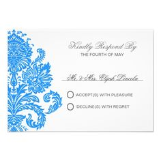 Sports Blue Damask Theme Weddings Personalized Personalized Invites
