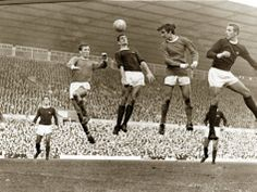 George Best, Pat Crerand, Frank McLintock, John Radford at the Machester United v Arsenal football match in October 1967 at Old Trafford
