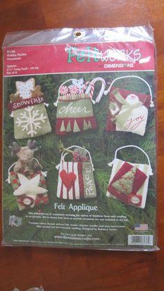 Holiday Pocket Ornaments Felt Works Applique Kit 8136 Dimensions Makes 6 Sealed #Dimensions