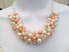 Set of 6 Pearl Beaded Necklaces with Rhinestones by KIMMSMITH