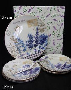 """Tortentellerset 8teilig Porzellan Motiv """"Lavendel"""" Geschenkset Plates, Tableware, Atelier, Lavender, Fine China, Weihnachten, Licence Plates"""
