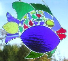 SPECIAL - Stained Glass Tropical Fish Suncatcher in Blue & Green