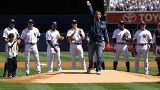 2012-04-13  Posada's return for first pitch thrills Yanks.  Surrounded by family members and former teammates, Jorge Posada enjoyed a triumphant Bronx return.