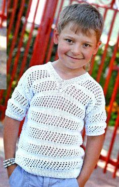 Пуловер с короткими рукавами для мальчика, вязаный спицами