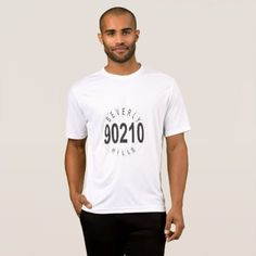 White T-Shirt with BEVERLY HILLS 90210 - mens sportswear fitness apparel sports men healthy life