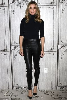 Model physique: The star wore slim fit leather trousers with a turtleneck sweater ...