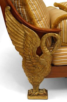 Continental Neoclassic-style (Possibly Austrian, late Century) parcel gilt mahogany daybed/chaise lounge with scrolled back above a stripped yellow silk seat on swan legs. Biedermeier Sofa, Sofas, Daybed, Wicker, Decorative Bowls, Empire, Silk, Yellow, Inspiration
