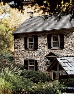 Fieldstone House #stonehouse #cottage #stone. My father was a talented stonemason and worked mostly with field stone and lime stone.  I love stone houses.