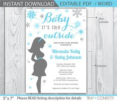 baby its cold outside invitation / snowflake baby by TinyConfetti