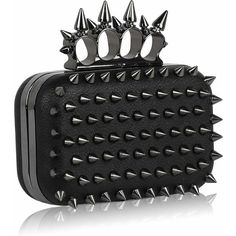 KCMODE Womens Spikes Skull Rings Designer Evening Clutch Bag Black:... ($37) ❤ liked on Polyvore featuring bags, handbags, clutches, black skull purse, special occasion clutches, accessories handbags and cocktail purse