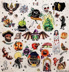 Halloween Tattoo Flash 2 by:Alejandra L Manriquez. #traditionaltattoo