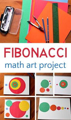Fibonacci Math Art Project Cool fibonacci art project for exploring the intersection between math and art, and the golden spiral. Art Education Projects, Math Projects, Education Logo, Cool Art Projects, Education Quotes, Projects For Kids, Sewing Projects, Classe D'art, Math Art