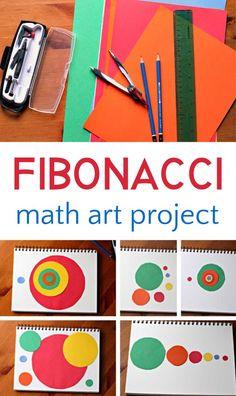 Fibonacci Math Art Project Cool fibonacci art project for exploring the intersection between math and art, and the golden spiral. Arte Elemental, Math Projects, Art Education Projects, Cool Art Projects, Sewing Projects, Math Art, Homeschool Math, Homeschooling, Preschool Art