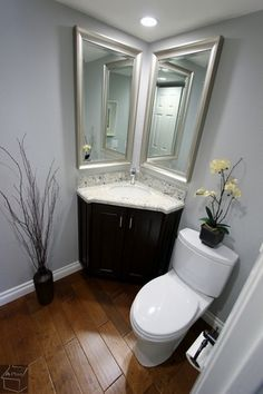 Traditional Powder Room with Corner vanity, Flush, Granite White Galaxy Countertop, Powder room, White interior 6-panel door