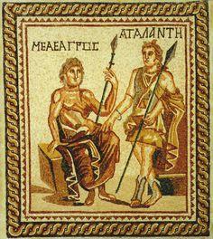 "Roman Mosaic Depicting Meleager and Atalanta - PF.5308 Origin: Mediterranean Circa: 100 AD to 300 AD Dimensions: 63"" (160.0cm) high x 55.875"" (141.9cm) wide Collection: Classical Medium: Mosaic"