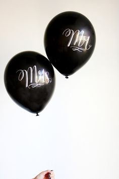 Chalk Lettered MR & MRS balloons