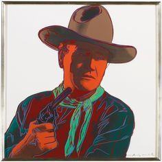 John Wayne from LOT 44 ANDY WARHOL Cowboys and Indians (Feldman & Schellmann II.377-386) Estimate  200,000 - 300,000 USD sheets: 36 by 36 in. (91.4 by 91.4 cm.) the portfolio of ten screenprints in colors, each signed, nine numbered 56/250 and John Wayne (F. & S. II.377) inscribed unique in pencil (as issued), 1986, on Lenox Museum Board, with the blindstamp of the printer, Rupert Jasen Smith, New York, with the inkstamp (verso) of the publisher, Gaultney, Klineman Art, Inc., New York…