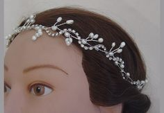 Pearl bridal hair vine wrapped in rhinestone by zannedelions