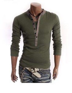 Mens Casual Half Buttoned Long Sleeve Shirt