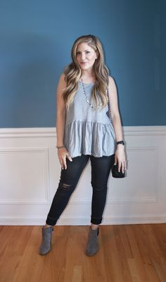 Free People ruffle tank, distressed denim, booties, fashion