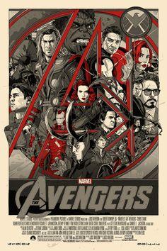 """Affiche originale Mondo """"Avengers"""" par Tyler Stout (05/04/12) numérotée, Taille 24""""x36"""" screen print. Variante édition limité à 350 exemplaires au monde.@asgalerie #asgalerie #TylerStout #marvel #avengers."""