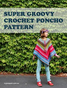 Free Crochet Poncho Patterns,Self Striping Yarn Cakes + 2 Bonus Crochet Pattern Crochet Bebe, Crochet Girls, Crochet For Kids, Free Crochet, Crochet Children, Crochet Ideas, Crochet Projects, Crochet Wraps, Crochet 101