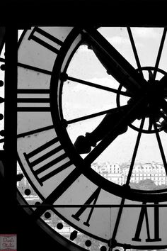 Paris photography travel photo black and white clock at Musée D'Orsay by DuniStudioDesign