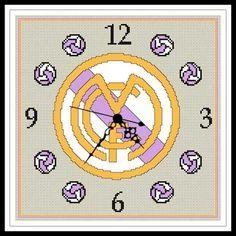 """sandylandya.Gráfico para punto de cruz del Reloj del """"Real Madrid""""."""