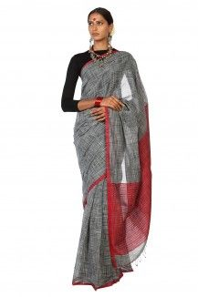 Chatai Handwoven Black & White Soft Cotton Saree By Ron Dutta  Rs. 2,875