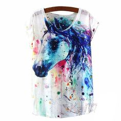Colorful Horse Graffiti T-Shirt. One size only (Medium - Large sized) Length: Bust: 37 Clothing Length: Regular Pattern Type: Graffiti Horse Casual T Shirts, Casual Tops, White Casual, Graphic Tee Shirts, Printed Shirts, Printed Cotton, Graffiti, Animal Print T Shirts, Shirt Print