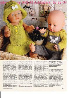Album Archive - Dukketøj til Baby Born 2 - Ingelise Knitting Dolls Clothes, Knitted Dolls, Crochet Dolls, Knitted Hats, Baby Born Clothes, Pet Clothes, Barbie Clothes Patterns, Doll Patterns, Girl Dolls