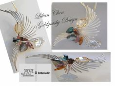 Lilian Chen designs. Beautiful. Wire Art, Chainmaille, Chen, Wire Wrapping, Weave, Beading, Create Yourself, Projects To Try, Designers