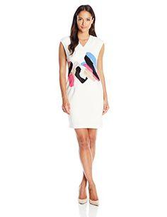 Ellen Tracy Women's Petite Cap Sleeve Fitted Sheath Dress, Mirage Multi, 4 Petite