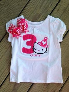 Hello Kitty 1st 2nd 3rd birthday shirt and hair bow by CEBowtique, $22.00